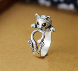Wholesale Vintage Halloween Cat - New Fashion Animal Ring Zinc Hippie Vintage Anel Punk Kitty Wedding Ring Boho Chic Retro Cat Rings for Women Party Rings