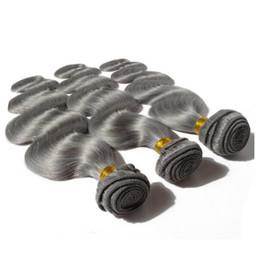 "Wholesale Order Hair Color Wave - Sample Order 1pcs Gray Weave Brazilian Virgin Hair Body Wave Grey Weave Hair Bundles 12""-30"" Fast Shipping"