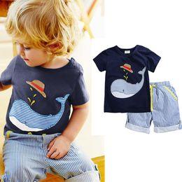Wholesale Pc T Shirts - Boy INS whale hat stripe suit Summer new children cartoon dinosaur ins Short sleeve T-shirt + shorts 2 pcs Suit baby clothes A080