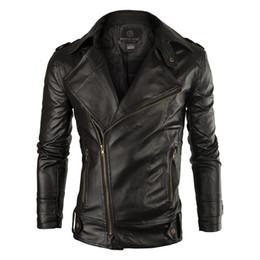 Wholesale Leather Hooded Biker Jacket Men - Wholesale- New Brand Leather Jacket Men 2016 Fashion Mens Slim Fit Motorcycle Biker Jacket Casual Jaqueta De Couro Veste Cuir Homme 14NC07