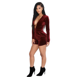 Wholesale Catsuits Hot Sexy - 2017 HOT New FASHION Women Sexy Deep V-Neck Bandage Jumpsuits Catsuits Lady Velour Party Winter Vestidos Rompers Bodysuits Club Playsuits