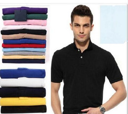 Wholesale Top sale S XL Man s Solid Polo Shirts Camisa Polo embroidery small Horse Polo Shirts man polyester Men Short Sleeve Casual Shirts