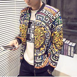 Wholesale Chinese Men S Clothes Fashion - Wholesale- New 2016 autumn chinese style fashion geometry and leopard print bomber jacket men veste homme men's clothing size m-4xl JK3-1