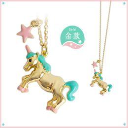 Wholesale Womens Pendants - Wholesale-exclusive 1pc japan gold silver plated unicorn pendant short necklaces womens unique chic clavicle chain jewelry