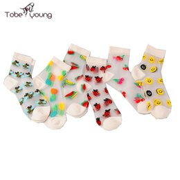 Wholesale Girls Transparent Socks - Wholesale-2016 Autumn Fashion Girl Women Fruit Smile Face Invisible Transparent Embroidery Crystal Glass Silk Ankle Socks Calcetines Mujer