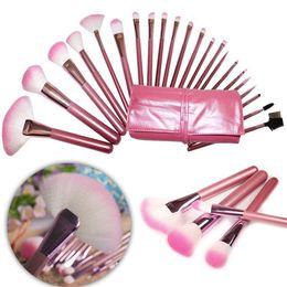 Wholesale 22 Makeup Brush Set - 22 pcs pink makeup brush kit make up brushes set cosmetic brushes with PU leather cosmetic bag