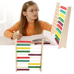 Wholesale Counting Abacus - Wholesale- Wooden 10-row Abacus Counting Colorful Beads Maths Learning educational Kid Toy