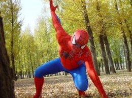 Wholesale Spider Man Mascots - Spiderman Costume Red Black Spider Man Suit Spider-man Costumes Adults Children Kids Spider-Man Mascot Clothing