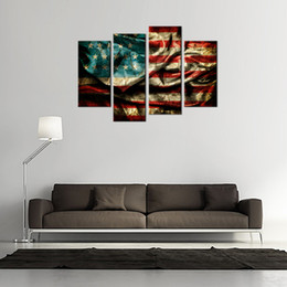 Wholesale American Flag Art - 4 Pieces Canvas Painting Wall Art Retro American Flag Painting The Picture Print For Home Decoration with Wooden Framed Ready to Hang