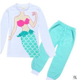 Wholesale Babies Pajama - Mermaid Kids Girls Sets Pajamas Princess Pyjamas Kids Pajama Infantil Sleepwear Home Clothing Cartoon Baby Pajama DHL Free Shipping