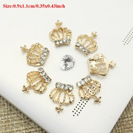 Wholesale Rhinestone Crown Embellishment - 50pcs Wholesale Flatback Rhinestone Crown Charms Drilling Jewelry strass Applique Embellishment Dress Collar Wedding Brides Hair Accessories