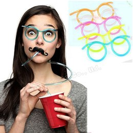 Wholesale Novelty Drinking Straws Kids - Wholesale-Novelty Crazy Glasses Straw Unique Flexible Drinking Tube DIY Funny Soft Drinking Straws Kids Party Accessories Free Shipping
