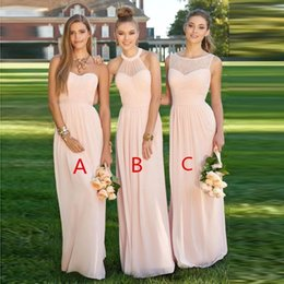 Wholesale Sexy Leather Jackets Fur - Pink Navy Cheap Long Bridesmaid Dresses Mixed Neckline Flow Chiffon Summer Blush Bridesmaid Formal Prom Evening Dresses with Ruffles