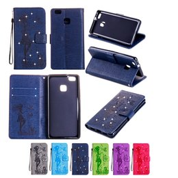 Wholesale Diamond Mobile Phone Cover - Mobile Phone Cases for Huawei P9 LITE with Wallet Card Slot PU Leather Cover Inset Artificial Glaring Diamond Case
