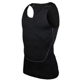 Wholesale Tight Tank Top Undershirt - Wholesale- Men's Bodybuilding Jersey Vest Tank Top Quick-dry Vest Tights Tops Undershirt