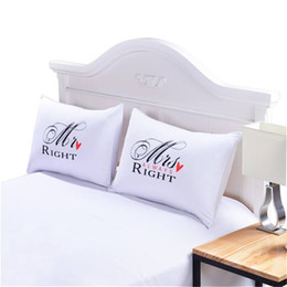 Wholesale Cotton Anniversary Gift - Bedding Outlet MR and MRS Pillowcases Couple Pillow Case for Him or Her Christmas Romantic Anniversary Wedding Valentine's Gift 0711028