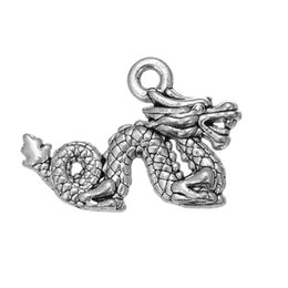 Wholesale Powerful Necklace - Vintage Metal Religious Powerful dragon& Good Luck & Horse Round Animals Charms Zinc Alloy Charms For Diy Necklaces Bracelets Making