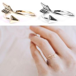 Wholesale Fine Gift Wrap - FINE ARROW RING in Silver, Gold or Rose Gold Plate. Thumb Wrap ADJUSTABLE Love for mon girlfriend gift free shipping