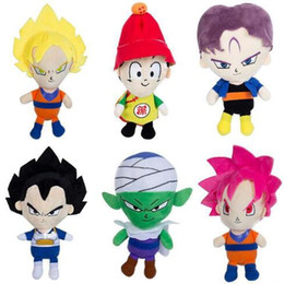 Wholesale Dragonball Z Goku Vegeta - 22cm Dragon Ball Z Plush Toys Son Goku Son Gohan Vegeta Piccolo Barrels Dragonball Plush Pendant Toys Figure Dolls 6pcs set CCA6917 18lot