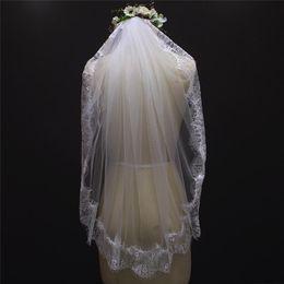 Wholesale Eyelash Veil - 100% Real Photos Eyelash Lace Edge One Layer Short Wedding Veil With Comb 2017 Bridal Veil Voile Mariage NV7092