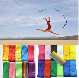 Wholesale Dance Rod - DHL Freeshipping mix color 4M Gym Dance Ribbon Rhythmic Art Gymnastic Streamer Baton Twirling Rod