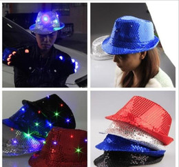 Wholesale Lighted Wholesale Fedora - 5 color LJJK303 Flashing Light Up Led Fedora Trilby Sequin Unisex Fancy Dress Dance Party Hat LED Unisex Hip-Hop Jazz Lamp Luminous Hat