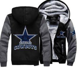 Wholesale Cowboy Clothes - Wholesale- Thicken Winter Men Women Foot Ball Cowboys Zipper Jacket Sweatshirts Hoodie Coat Clothing Casual