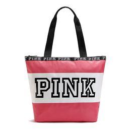 Wholesale Wholesale Large Cotton Handbags - Fashion Pink Letter Handbags VS Shoulder Bags Women Love Large Capacity Travel Duffle Striped Waterproof Beach Bag Shoulder Bag
