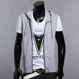 Wholesale Men Casual Vest Outwear - Hot Sell New 2016 Summer Mens Slim Fit Hooded Sweatshirt Casual Sleeveless Jacket Outdoors Vest Outwear Size S-XL