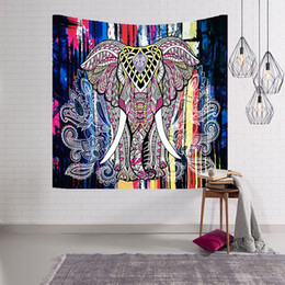 Wholesale Pictures Elephants - indian tapestry elephant wall hanging mural animal print carpet boho decorativos polyester fabric picture for wholesale and retail