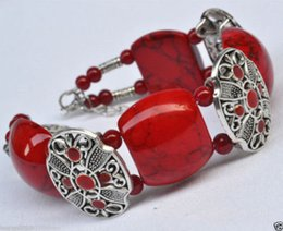 Wholesale Tibetan Jade Bangle - NEW Nice handmade fashion Tibetan silver jewelry red bracelet bangle bead red