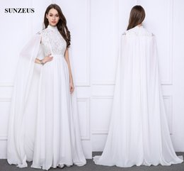 Wholesale Chiffon Floor Length Cape - Long White Evening Gowns Lace High Neck Formal Dresses With Long Cape Elegant Chiffon Party Gowns Saudi Arabic Caftan
