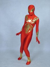 Wholesale Golden Group - golden spiders Full Body Spandex   lycra Zentai Body Adult suit For party Halloween masquerade Group performance