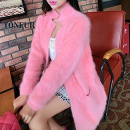 Wholesale Ladies Real Mink Jacket - Wholesale- 2017 100% Pure Mink Cashmere Long Coat Lady Fashion Real Mink Cashmere Nature Fur Jacket Wholesale OEM Sweater DFP941