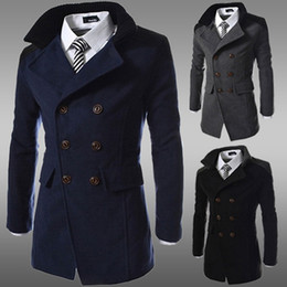 Wholesale Long Wool Overcoats For Men - Wholesale- fashion 2016 brand winter long trench coat men good quality double breasted wool blend overcoat for men size 3xl