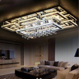 Wholesale Luxury Crystal Lighting Fixtures - Luxury Modern LED Crystal Ceiling Light Square Ceiling Lamp K9 Crystal Ceiling Chandeliers for Living Room Bedroom Restaurant Light Fixtures