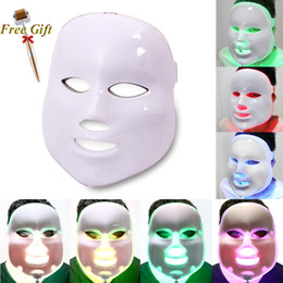 Wholesale Derma Roller Photons - 7 Colors Light Photon Electric LED Facial Mask Skin PDT Skin Rejuvenation Anti Acne Wrinkle Removal Therapy Beauty Salon+ Derma Roller