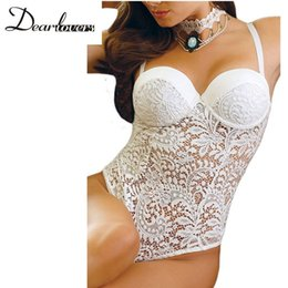 Wholesale Sexy Lingerie Underwear Baby Doll - Women Sexy Underwear White Lace Teddy Sexy Spaghetti Strap Push up Women Bodysuit Baby Doll Sexy Lingerie Women Underwear 2017 LC32058