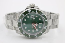 Wholesale Dark Green Watches - 2017 Luxury Brand New Dark Green Dial Silver Stainless steel Watch Mens automatic sweep original clasp Fashion Watches free shipping
