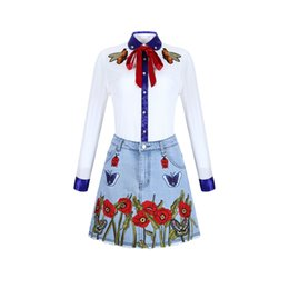 Wholesale Clothing Cheap Suit - 2017 Cheap Elegant White The Shirt Suits Women's Clothing Dresses Long Sleeve The Bee Embroidery With Bowknot