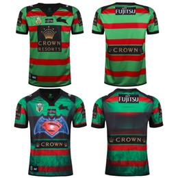 Wholesale Batman Superman Shirts - rugby shirt men 2017 NRL National Rugby League Batman v Superman South Sydney Rabbitohs Mens Home Jersey 2RD printing jerseys S - XXXL