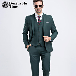 Wholesale Green Men S Fitted Suit - Wholesale- Men Slim Fit Dark Green Suit S-2XL 2017 Fashion One Button Mens Suits With Pants For Wedding Groom DT387