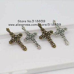 Wholesale Cameos Jewelry Making - Wholesale-Cameo Crosses Charms Jewelry Two Color Alloy Trendy Jewelry Fit Pendants Jewelry Making 50pcs lot 20*38mm 6398