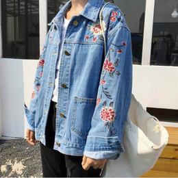 Wholesale Moto Jacket Women Fashion - Wholesale- Mori Girl Embroidery Oversized Srping Moto Jean Jacket Big Size Women Denim Jackets Plus Size Ladies Blouson Bombers Femme 5Xl
