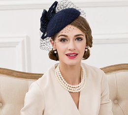 Wholesale Church Hats Fascinators - 100% Wool Fedora Hat Fascinators For Women Elegant Blue Wedding Dress Tea Party Pillbox Hats For Female