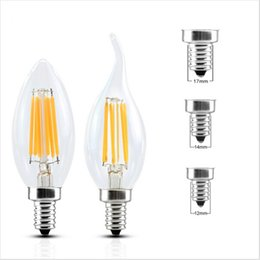 Wholesale E27 E14 Base - LED Candle Lamp C35 C35T COB filament bulb chandelier 2700K 2W 4W 6W E14 E12 base 110V 220V AC 110 LM W Approval
