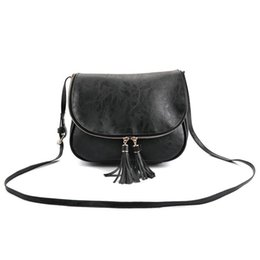 Wholesale Long Ladies Small Shoulder Bag - Wholesale-Women Cute Tassel Zipper Shoulder Bags PU Leather Small Female Crossbody Bag Long Shoulder Strap Messager Bags Ladies Handbags