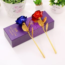 Wholesale Valentines Day Supplies - Colorful 24K Gold Foil Flowers Flores Artifical Simulation Plated Rose Flowers For Valentines Day Wedding Decoracion Supplies 2jp R
