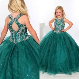 Wholesale Stone Color Dresses - Green Organza Pageant Dresses for Teens Halter Neckline Keyhole Back Ball Gown Floor Length Stones Beaded Pageant Gown Kids