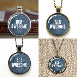 Collares impresionantes online-10 unids Aca Impresionante Pitch Perfect Inspired Glass Photo Necklace keyring bookmark gemelos pulsera del pendiente